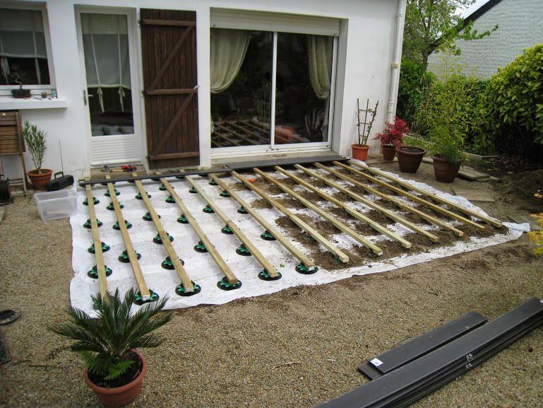 pose lame terrasse composite sur plots
